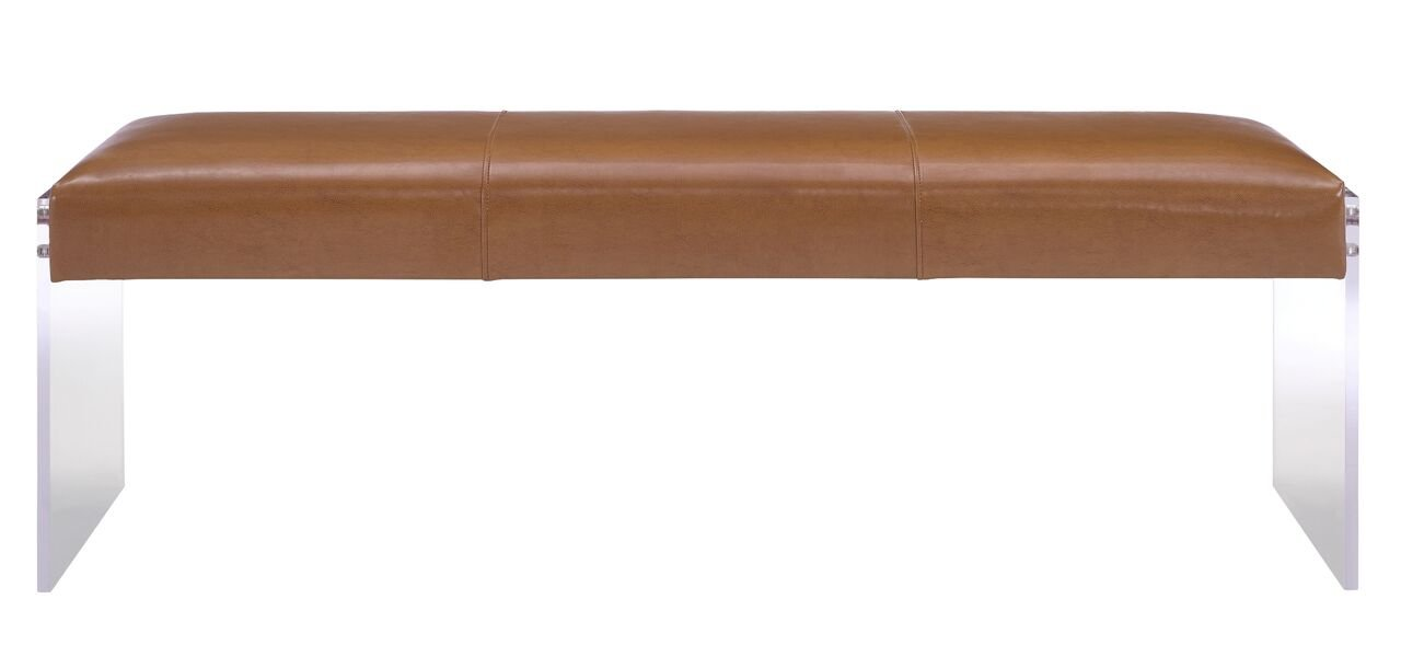 Tov Furniture Envy Leather/Acrylic Bench, Brown by Tov Furniture (Image #4)