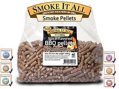 SMOKE IT ALL - BBQ Grill Pellets Räucherpelltes Buchenholz mit Gewürzen 1,0 kg; 61203