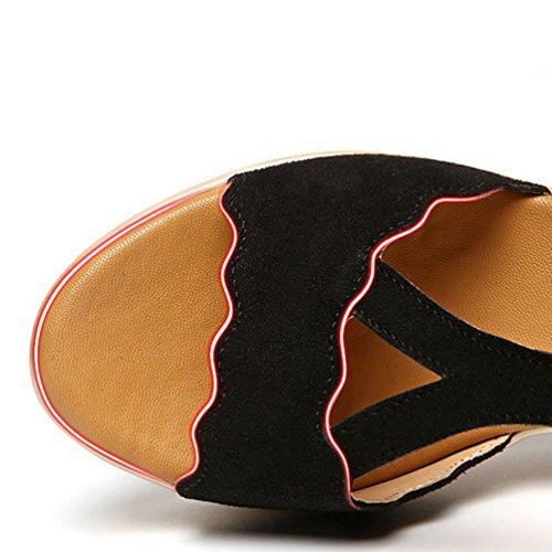 Chaussures Femmes Noir Plate Sandales Sandales Forme Compensées Anguang Talon S0AxTqqw