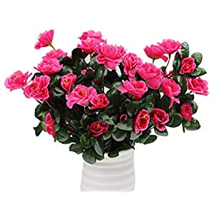 LE BI YOU 7 Branch 21 Heads Artificial Flower Azalea Fake Silk Flower Plastic Flower Arrangement Wedding Party Home Garden Decor Pack of 3 Bunch 79