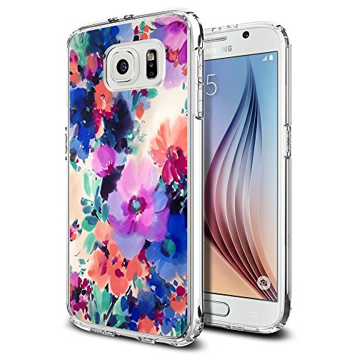 S6 Case Ink painting style-Hundred Flowers blossom, LAACO Scratch Resistant TPU Gel Rubber Soft Skin Silicone Protective Case Cover for Samsung Galaxy S6