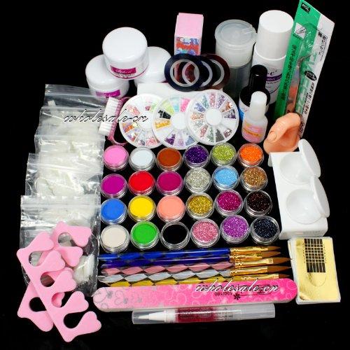 birthday gift full nail art set acrylic glitter powder primer tip brush glue dust kits by ry. Black Bedroom Furniture Sets. Home Design Ideas