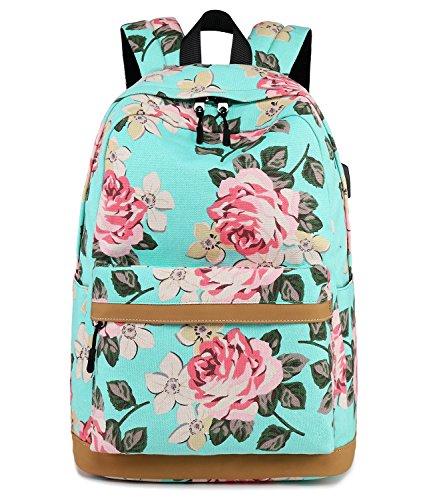 Abshoo Cute Canvas Floral Backpacks for Teen Girls School Bookbags (Floral Light Blue) (Girls Cool Teen Backpacks For)