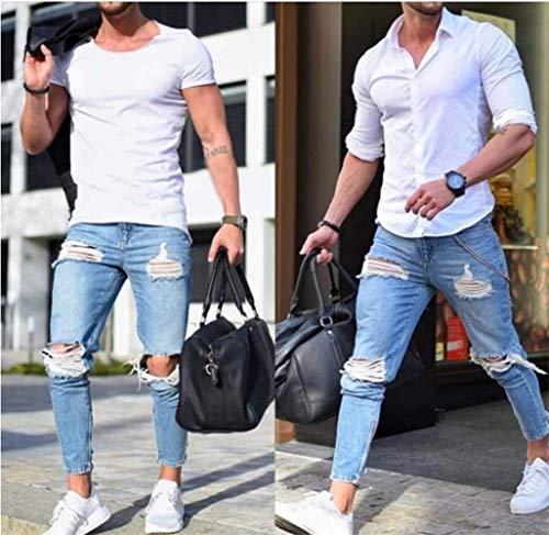 Da Skinny Fessura Pantaloni Aderenti Fit azzurro Strappati Uomo Biker Saoye Giovane Jeans Elasticizzata A Slim Nen Design Hellblau Fashion 7Onfnzt