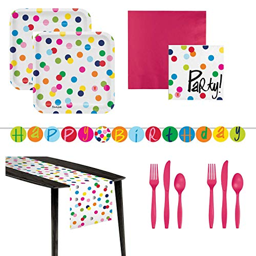 Birthday Polka Dot Party Supplies for 16 Guests- Luncheon Napkins, Beverage Napkins, Plates, Plastic Silverware, Birthday Banner, Table Runner