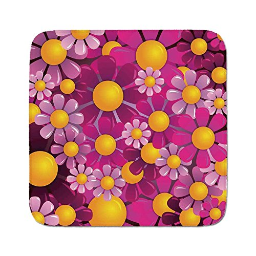 Cozy Seat Protector Pads Cushion Area Rug,Abstract Home Decor,Flowers Cartoon Summertime Garden Happy Cheering Flourish Decorative,Easy to Use on Any Surface from iPrint