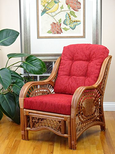 Malibu Design Natural Handmade Rattan Wicker Lounge Chair Colonial (Light Brown) with Burgundy Cushion (Company Chair Hanging Rattan Two's)