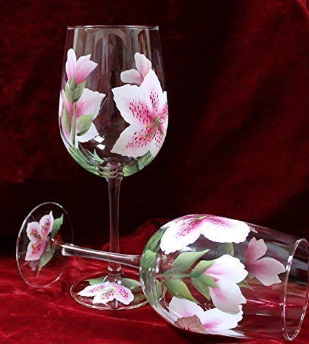 (Hand Painted Wine Glasses - Stargazer Lily Pink and White (Set of 2))