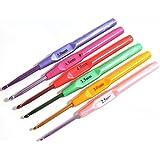 BESTIM INCUK 6-Piece Candy Colour Plastic Handle Crochet Hooks Knitting Needles Set 2.5mm - 5mm