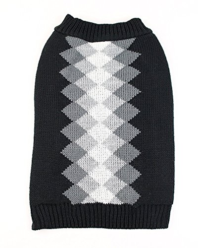 Argyle Dog Sweater by Midlee (Medium, Black)