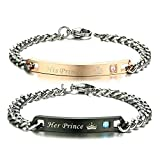 FANSING Costume Jewelry for Lover Her Prince His Princess Stainless Steel Couple Bracelets