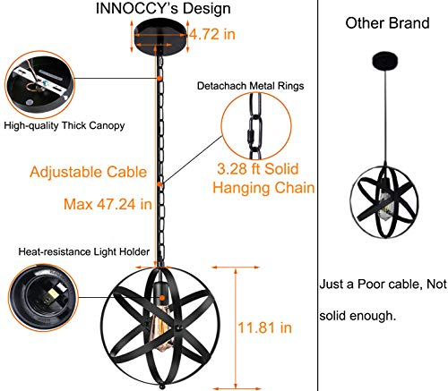 Industrial Pendant Light, INNOCCY 2 Pack Vintage Spherical Pendant Light Fixture with 39.3 Inches Adjustable Metal Chain by INNOCCY (Image #2)