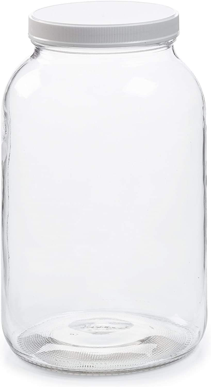 P8-1 Pack - 1 Gallon Glass Jar w/Plastic Airtight Lid, Muslin Cloth, Rubber Band - Wide Mouth Easy to Clean - BPA Free & Dishwasher Safe - Kombucha, Kefir, Canning, Sun Tea, Fermentation, Storage