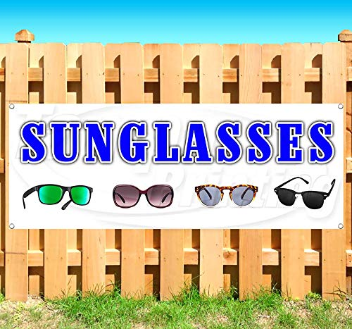Sunglasses 13 oz Heavy Duty Vinyl Banner Sign with Metal Grommets, New, Store, Advertising, Flag, (Many Sizes Available)