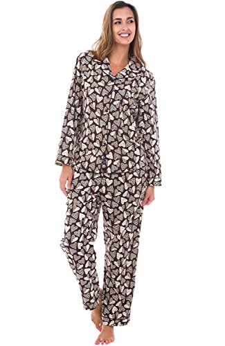 Heart Lounge Set (Alexander Del Rossa Womens Flannel Pajamas, Long Cotton Pj Set, Large Leopard Hearts with Black Piping (A0509Q58LG))