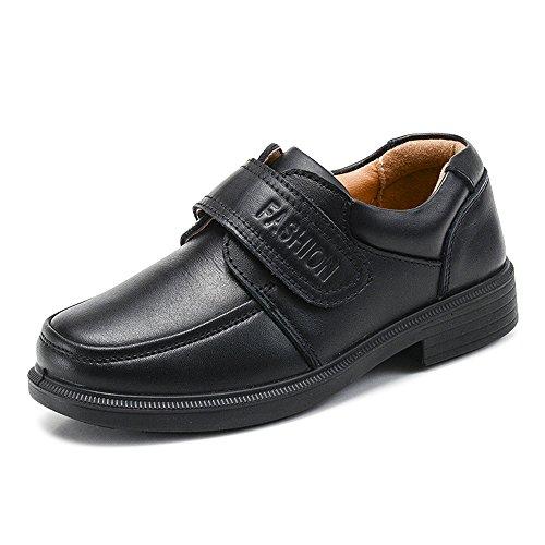 Boys Monk-strap Hook and Loop School Uniform Oxford Dress Shoes #1 Black Tag 39 - 5.5 M US Big Kid by OCHENTA