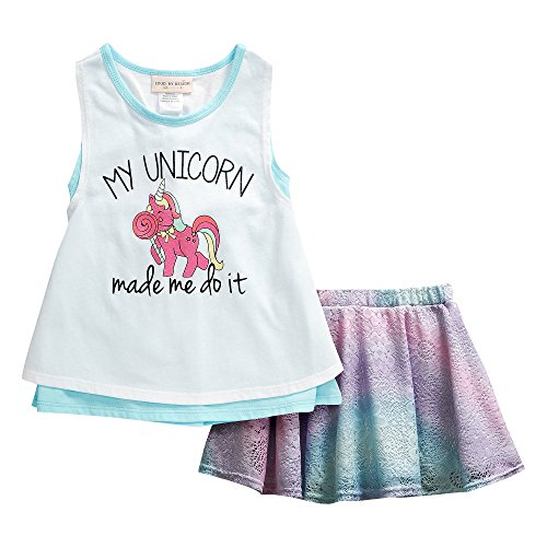 Loud By Design Little Girls' 2 Piece Unicorn Racerback Tank Ombre Crochet Lace Skort Set 4 Blue/White (Set Popover)