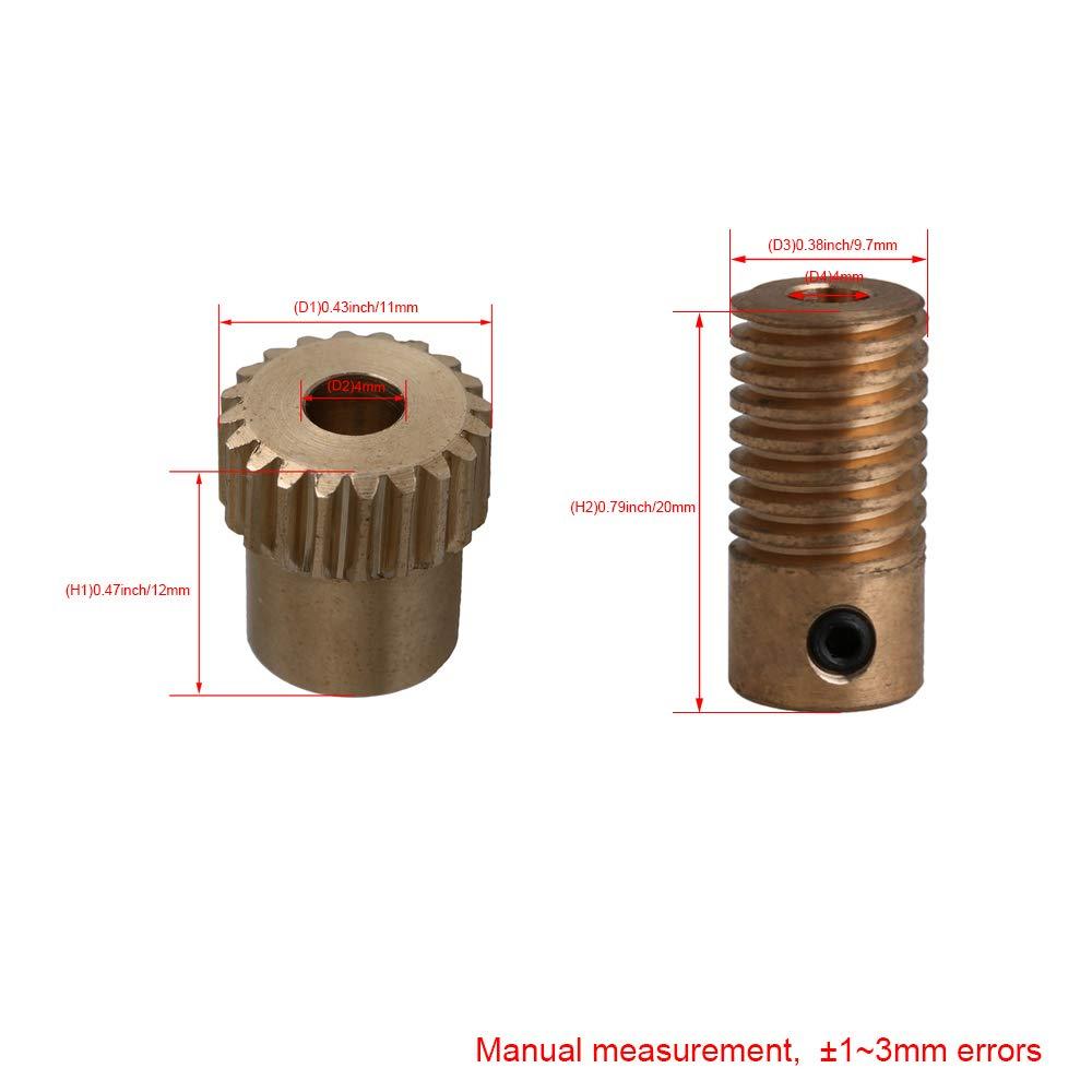 Cnbtr 0.5/modulo di ottone Worm riduttore 20/T Wore Gear Wheel 4/mm Bore Worm Gear shaft