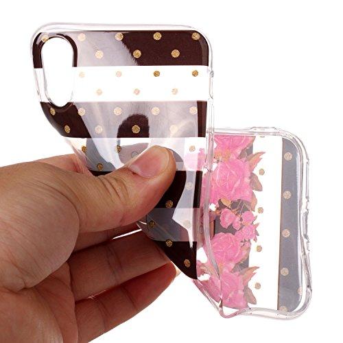 Custodia iPhone X , LH Striscia Fiore TPU Trasparente Silicone Cristallo Morbido Case Cover Custodie per Apple iPhone X