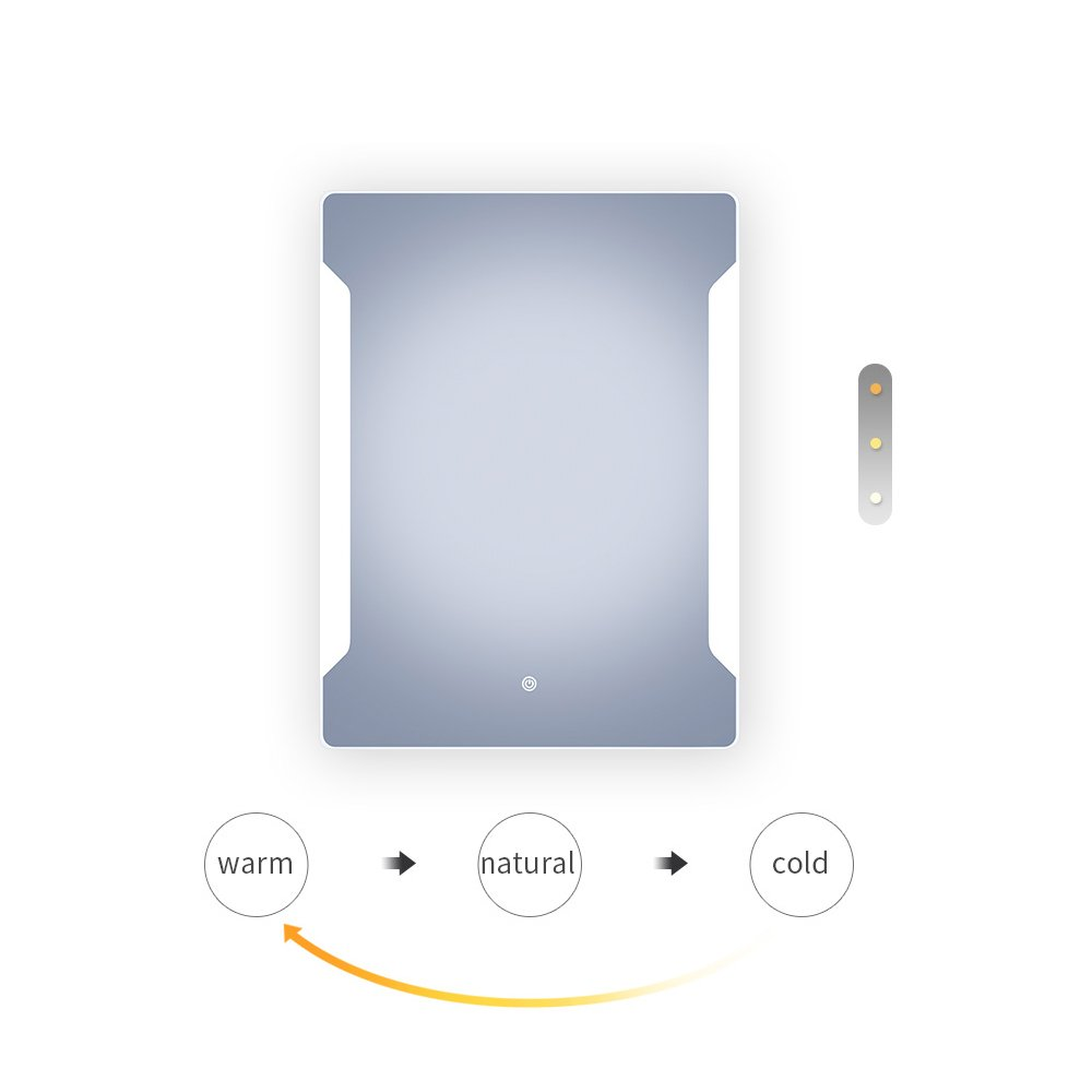 Stamo Vanity Bathroom Silvered Anti-Fog Mirror LED Lighted with Touch Button Vertical Bathroom Vanity Lighted, dimmable Lighting Mirror by Stamo (Image #6)