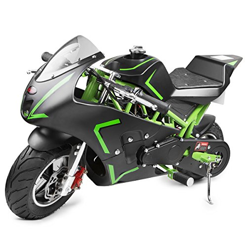 - XtremepowerUS 40CC 4-Stroke Gas Power Mini Pocket Motorcycle Ride-on (Green)
