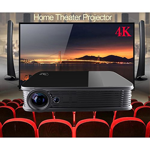 Deeirao 3D Smart Android5.1 Wifi 5.0GHz DLP Home Theater Projector Mini Portable Support 4K 2160P 2D Convert To 3D Bluetooth4.0 Youtube KODI Black by Deeirao