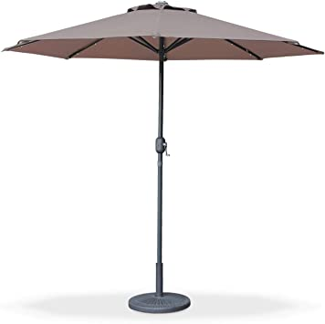 Alices Garden - Sombrilla Jardin led, Parasol Redondo, mástil Central, Marron, Ø270cm, Helios: Amazon.es: Jardín