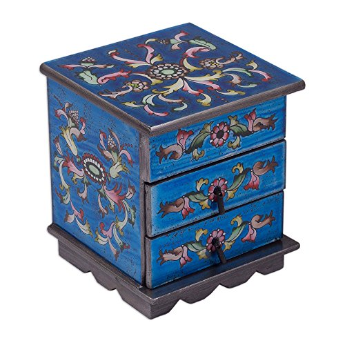 NOVICA Reverse Painted Glass and Wood Jewelry Box, Blue 'Celestial Blue' ()