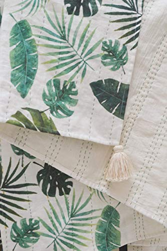 Tropical Leaves Throw Blanket, Pick Stitch Throw, Linen Throw, Printed Lap Blanket, Linen Blanket  