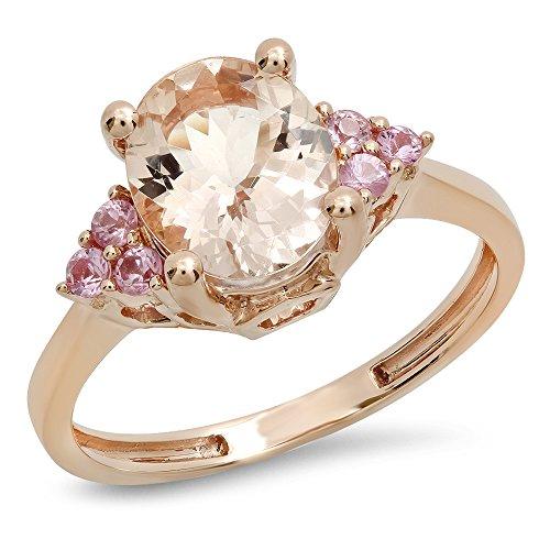 2.15 Carat (ctw) 14K Rose Gold Oval Morganite & Round Pink Sapphire Bridal Engagement Ring (Size 7)