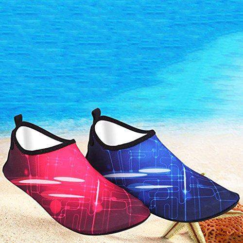 YiWa buceo piel calcetines zapatos de secado rápido agua antideslizante transpirable suave playa calcetines para buceo surf natación playa Yoga rojo
