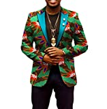 Highisa Men Africa Dashiki Leisure Outwear Batik Printing Floral Slim Blazer 6 4XL
