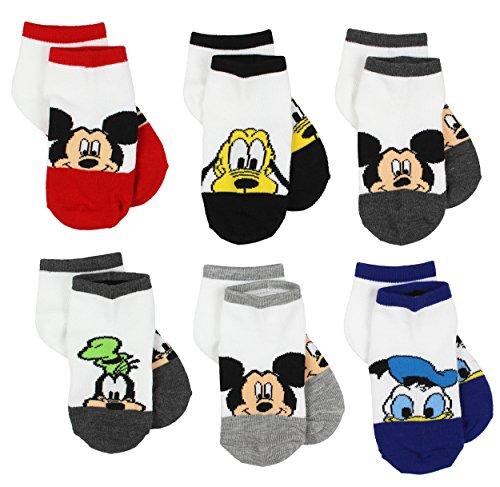 Mickey Mouse Little Boys 6 pack Socks (4-6 (Shoe: 7-10), White/Multi Friends Quarter)