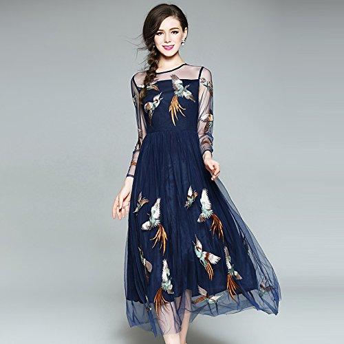 75d0e51ab54 JIALELE Women's Beach Boho A Line Sheath Swing Dress - Embroidered,  Mesh,Blue,