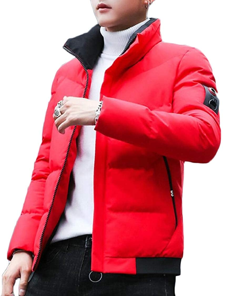 XQS Mens Quilted Stylish Thick Stand Collar Winter Front-Zip Down Jacket Coat