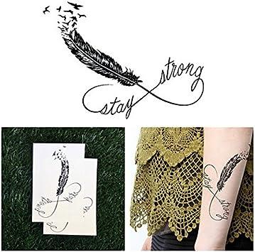 Tatuaje Temporal Tattify - Pluma Mantente Fuerte - Amarre (Juego ...