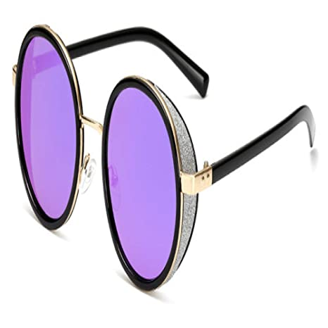 Yangjing-hl Gafas de Sol Redondas Mujer Espejo Gafas de Sol ...