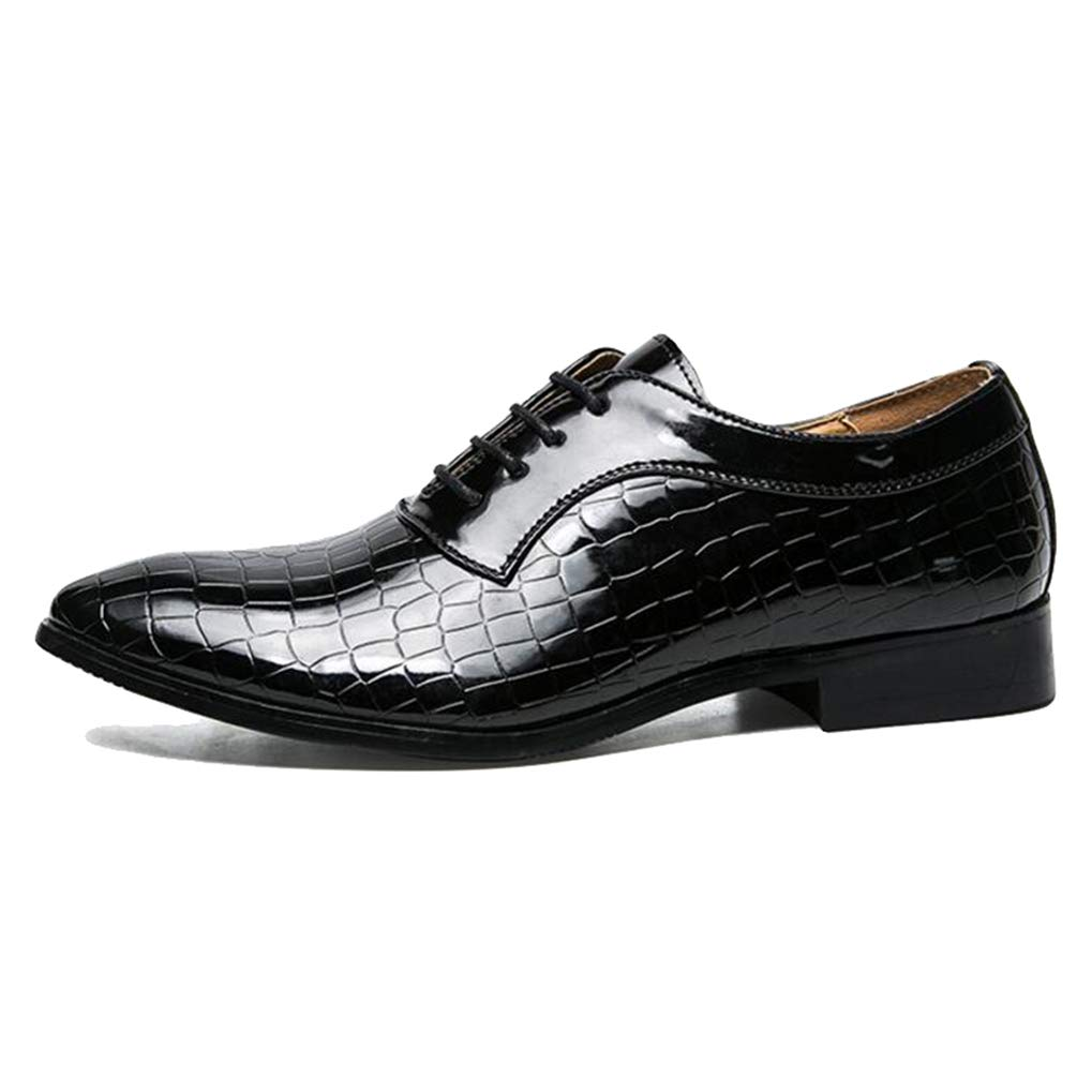 Starttwin Mens Oxford Shoes Lace-up Breathable Flats Business Dress Shoes