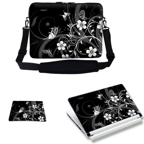 Price comparison product image Meffort Inc 15 15.6 inch Laptop Carrying Sleeve Bag Case with Hidden Handle & Adjustable Shoulder Strap with Matching Skin Sticker and Mouse Pad Combo - Black White Flower Butterfly