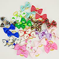 Hixixi 30pcs/15pairs Pet Cat Dog Hair Bows Beautiful Bow Tie With Rubber Bands Puppy Hair Accessories