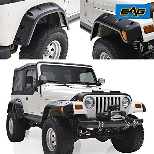 EAG Fender Flares with Mounting Hardware Pocket Style Fit for 97-06 Jeep Wrangler TJ ()