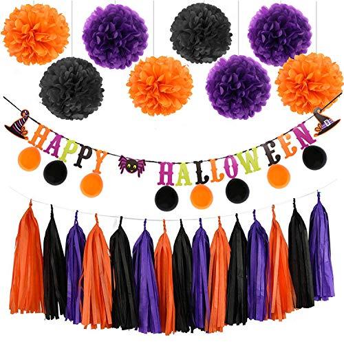 "Sorive Halloween Orange Purple Black Party Decorations, ""Happy Halloween"" Banner, Balloons, Tissue Paper pom poms Flowers, Tassel DIY Party Garland, Birthday Party, Baby Shower, Festival"
