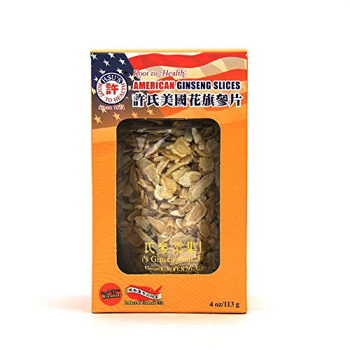 HSU's Ginseng SKU 126MM | Medium-Small Mixed Slices | Cultivated American Ginseng from Marathon County, Wisconsin USA | 许氏花旗参 | 4oz jar, 西洋参, B071438CBH