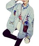Tengfurich Tengfu Women's Blue Cute Letter Print Bomber Denim Jean Jacket Coat Outwear