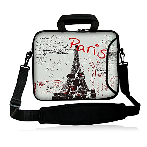 "iColor 15"" Laptop Shoulder Bag 14.1"" 14.2"" 15.6"" Inch Neoprene Laptop Messenger Bag 15.4"" Notebook Computer Dual Zipper Case Cover Pouch Holder Pocket-Paris"