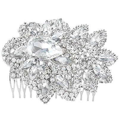 EVER FAITH Wedding Silver-Tone Leaf Teardrop Clear Austrian Crystal Hair Comb