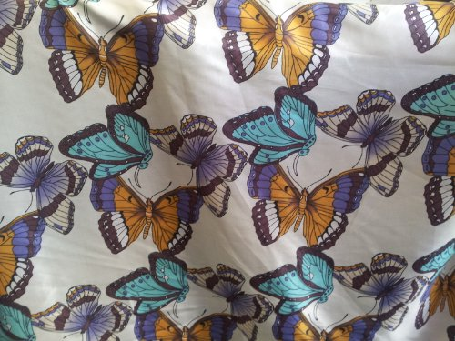 100% Pure Silk Butterfly Print 54 Inch Wide Fabric By the Yard