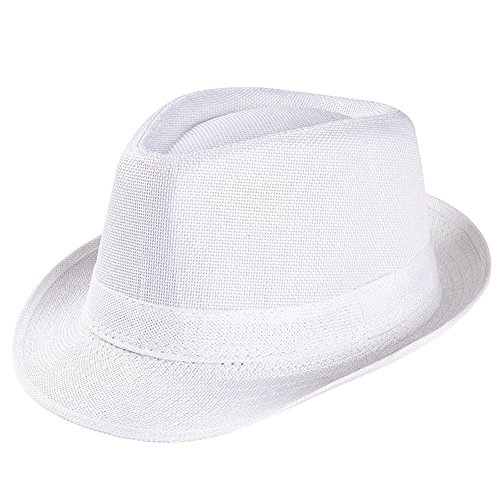 (Unisex Trilby Gangster Cap Beach Sun Straw Hat Band Sunhat White)