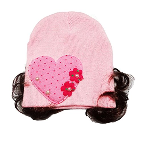 Pink Girls Wig Heart (Elevin(TM) Toddlers Baby Girl Love Heart Headband Hair Band Headwear Wig Hat)