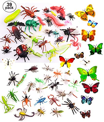 "OOTSR 39pcs Bug Toy Figures for Kids Boys, 2-6"" Fake Bugs - Fake Spiders, Cockroaches, Scorpions, Crickets, Lady Bugs, Butterflies and Worms for Education and Christmas Party -"